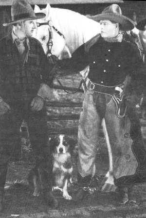 "Bunk appears with Bert de Marc, Jack Hoxie,   and Hoxie's horse, Scout in ""Rough and Ready"" (1927) (photo from The Hoxie Boys by Edgar M. Wyatt)"